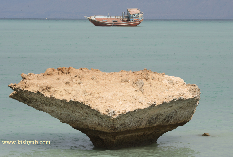 صخره قارچی در کیش /تصاویر